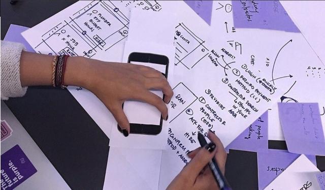 Se ven dos manos trabajando en un esquema sobre papeles superpuestos
