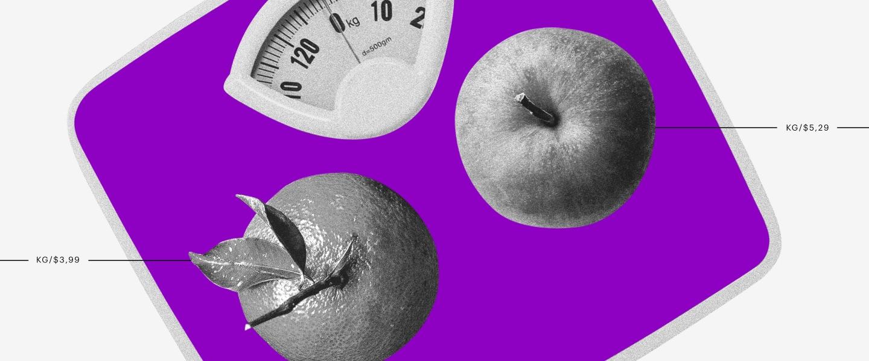 Una balanza morada, y encima una manza y una naranja en donde se muestra sus diferentes pesos.