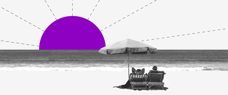 Gente bajo una sombrilla en la playa con un sol morado dibujado en el horizonte.