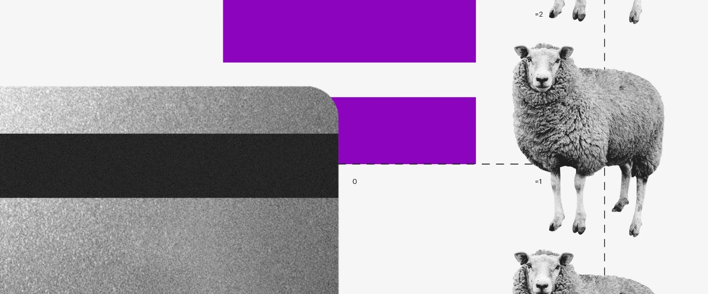 Phishing. Dibujos de tarjetas de crédito y una oveja que parece replicada en una serie vertical.