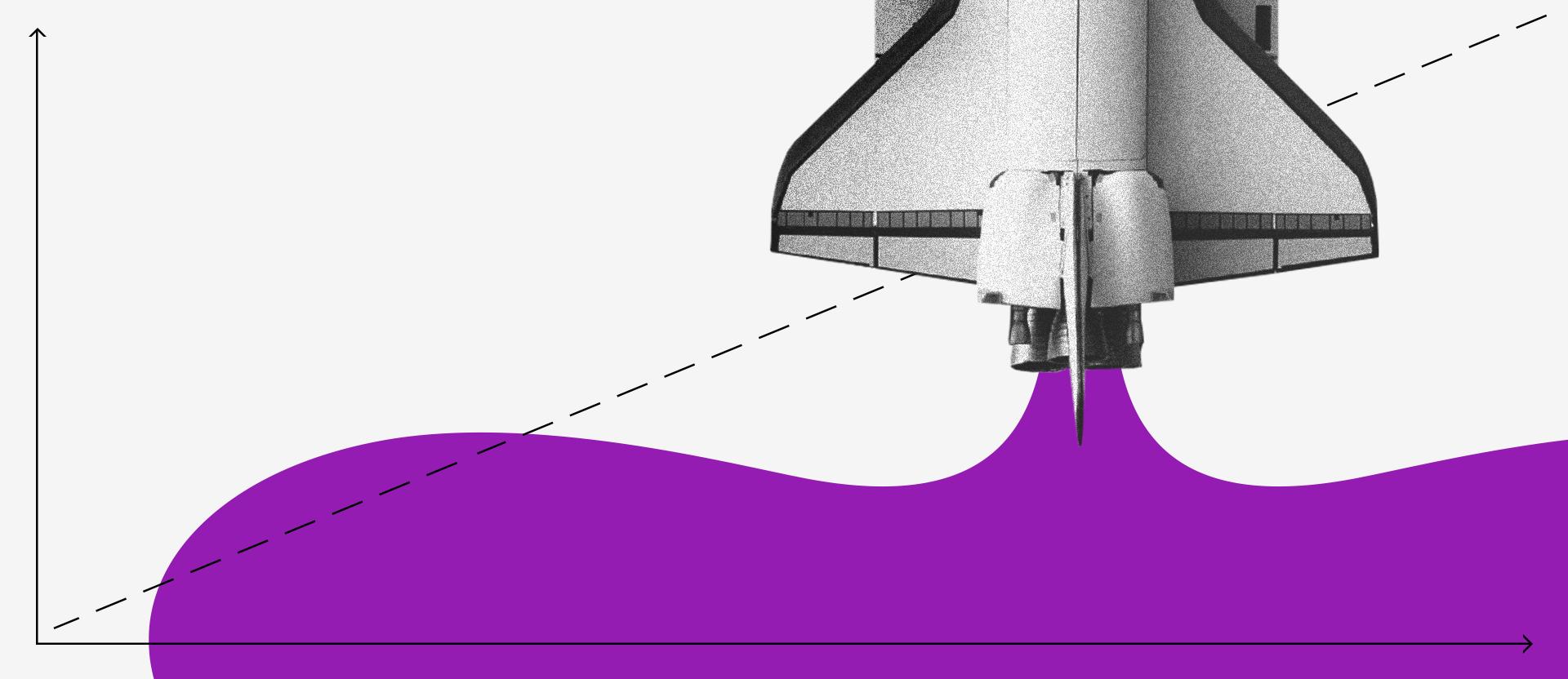 GameStop. Collage de un cohete despegando por cuya cola sale un