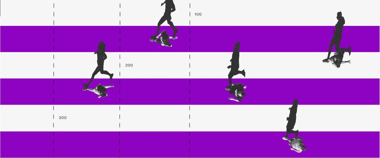 Inversiones financieras. Un collage de una pista de atletismo con andariveles blancos y morados y unas personas corriendo en ellos.