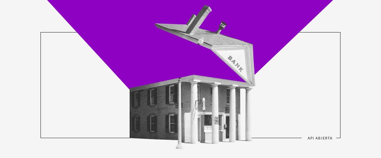 Qué es Open Banking. El dibujo de un banco cuyo techo se abre como una lata; un cielo morado de fondo.